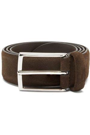 Anderson's Buckled Suede Belt - Mens - Dark Brown