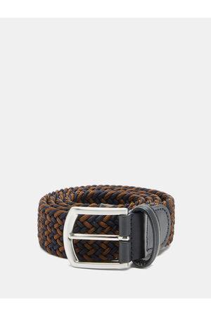 Anderson's Heren Riemen - Woven Elasticated Belt - Mens - Navy/dk Olive