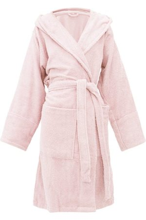 Tekla Hooded Cotton-terry Bathrobe - Womens - Light Pink