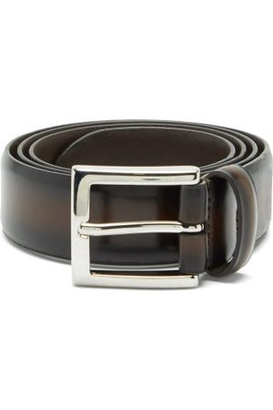 Anderson's Heren Riemen - Distressed-leather Belt - Mens - Dark Brown