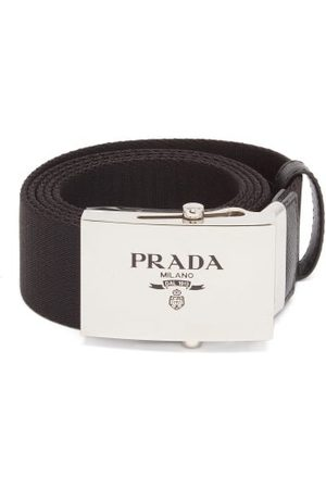 Prada Leather-trimmed Canvas Belt - Mens - Black