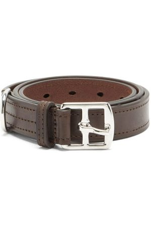 Anderson's Topstitched Leather Belt - Mens - Brown