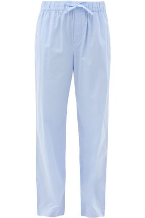 Tekla Drawstring Organic-cotton Pyjama Trousers - Womens - Light Blue