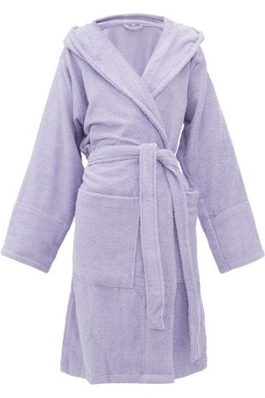 Tekla Hooded Cotton-terry Bathrobe - Womens - Purple