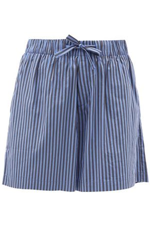 Tekla Striped Organic-cotton Pyjama Shorts - Womens - Blue Stripe