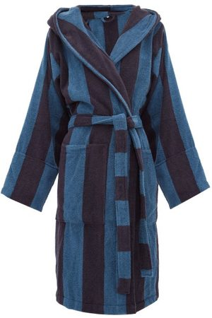 Tekla Hooded Cotton-terry Bathrobe - Womens - Blue Stripe