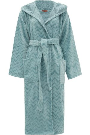 Missoni Rex Zigzag Hooded Cotton-terry Bathrobe - Womens - Light Blue