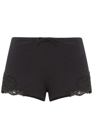La Perla Dames Shorts - Lace-trimmed Cotton-blend Jersey Pyjama Shorts - Womens - Black