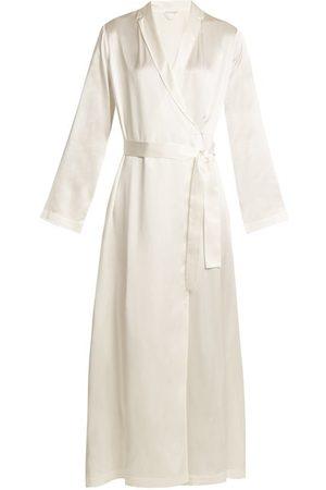 La Perla Dames Badjassen - Silk-satin Robe - Womens - Ivory