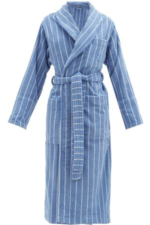 Tekla Striped Cotton-terry Bathrobe - Womens - Blue Stripe