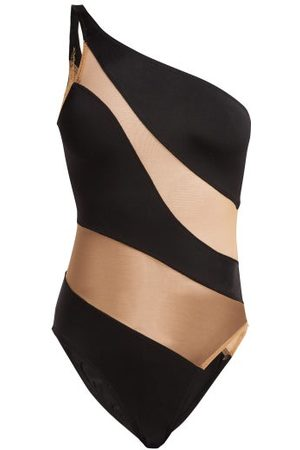 Norma Kamali Mio One-shoulder Mesh Panelled Swimsuit - Womens - Black Nude