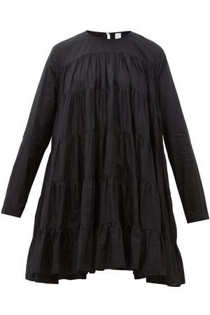 Merlette Soliman Tiered Cotton Mini Dress - Womens - Black
