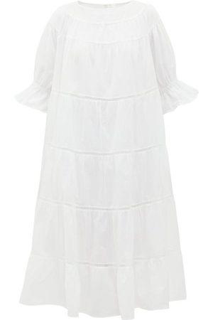 Merlette Paradis Tiered Cotton Midi Dress - Womens - White