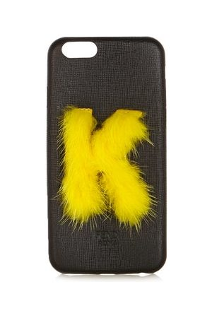 Fendi Leather Iphone® 6 Case - Womens - Black Yellow