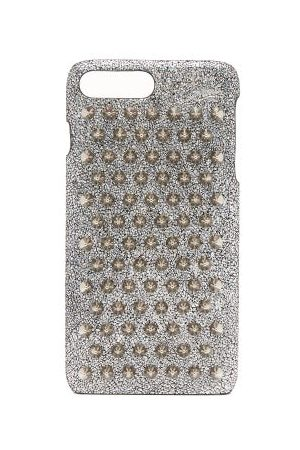 Christian Louboutin Loubiphone Metallic Leather Iphone® 7+ & 8+ Case - Womens - Silver