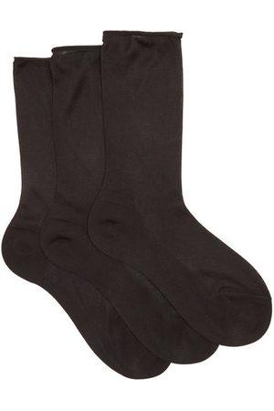 Raey Dames Sokken & Kousen - Pack Of Three Roll-top Silk Socks - Womens - Black