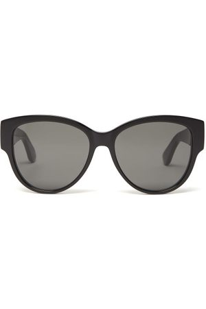Saint Laurent Dames Zonnebrillen - Monogram Logo Cat-eye Acetate Sunglasses - Womens - Black
