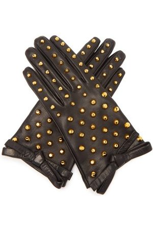 Prada Stud-embellished Leather Gloves - Womens - Black