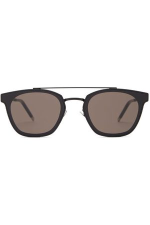 Saint Laurent Dames Zonnebrillen - Round-frame Top-bar Metal Sunglasses - Womens - Black
