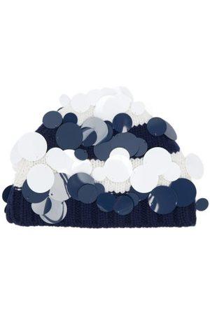Prada Dames Mutsen - Paillette-embellished Striped-cashmere Beanie Hat - Womens - Blue
