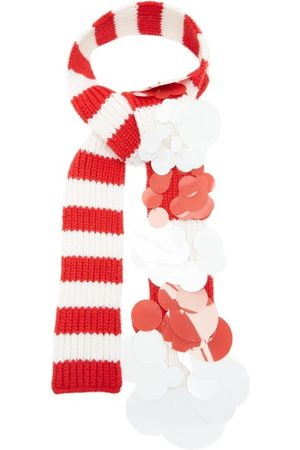 Prada Sequinned Striped Cashmere Scarf - Womens - Red
