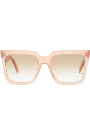 Céline Flat-top Oversized Square Acetate Sunglasses - Womens - Light Pink
