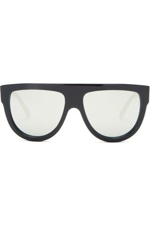 Céline Mirrored Flat-top Acetate Sunglasses - Womens - Black