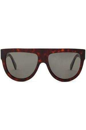 Céline Flat-top Tortoiseshell-effect Acetate Sunglasses - Womens - Tortoiseshell