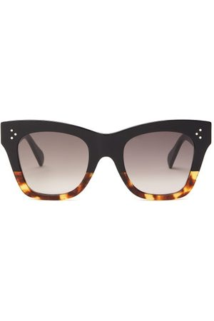 Céline Square Tortoiseshell-gradient Acetate Sunglasses - Womens - Black Brown