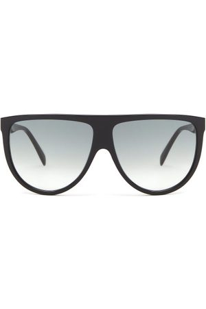 Céline Oversized Flat-top Acetate Sunglasses - Womens - Black