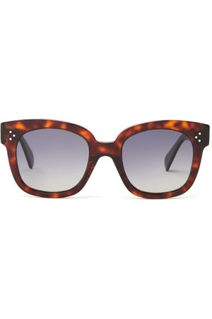Céline Tortoise-effect Square Acetate Sunglasses - Womens - Tortoiseshell
