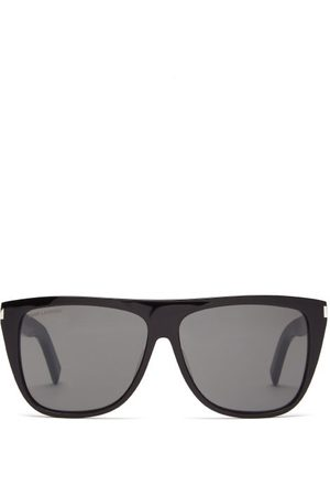 Saint Laurent Flat-top Acetate Sunglasses - Womens - Black
