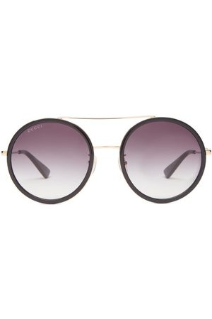 Gucci Dames Zonnebrillen - Round Metal Sunglasses - Womens - Grey Gold