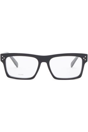 Céline Flat-top Rectangular Acetate Glasses - Womens - Black