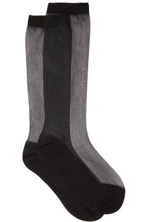 Raey Dames Sokken & Kousen - Sheer Ribbed Silk-blend Socks - Womens - Black