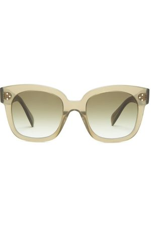 Céline Oversized D-frame Acetate And Metal Sunglasses - Womens - Dark Green