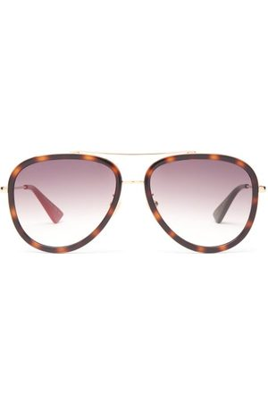 Gucci Dames Zonnebrillen - Tortoiseshell-effect Acetate Aviator Sunglasses - Womens - Brown Gold