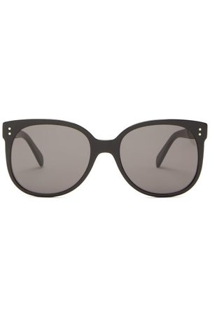 Céline Round Acetate Sunglasses - Womens - Black