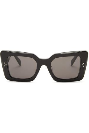 Céline Rectangular Acetate Sunglasses - Womens - Black