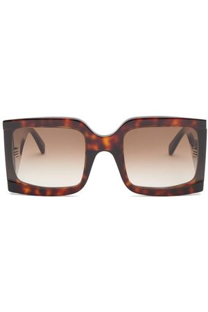 Céline Dames Zonnebrillen - Oversized Squared Tortoiseshell-acetate Sunglasses - Womens - Dark Brown