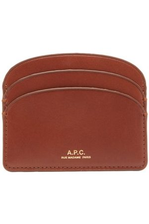 A.P.C Dames Portemonnees - Half Moon Leather Cardholder - Womens - Tan