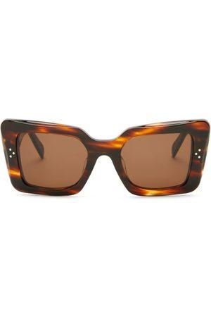 Céline Dames Zonnebrillen - Rectangular Tortoiseshell-acetate Sunglasses - Womens - Tortoiseshell