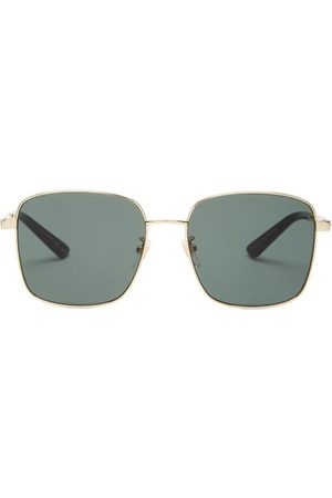 Gucci Square Metal Sunglasses - Womens - Gold