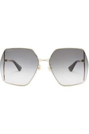 Gucci Oversized Square Metal Sunglasses - Womens - Gold