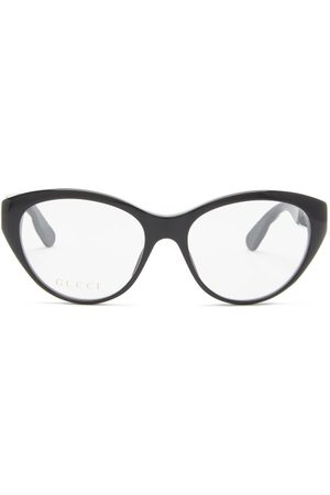 Gucci GG-logo Plaque Cat-eye Acetate Glasses - Womens - Black