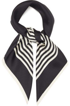 lescarf Dames Sjaals - No.2 Striped Silk-twill Scarf - Womens - Black Cream