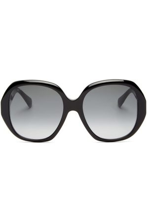 Gucci Oversized Round Acetate Sunglasses - Womens - Black Grey