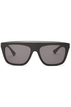 Bottega Veneta Flat-top Acetate Sunglasses - Womens - Black Grey