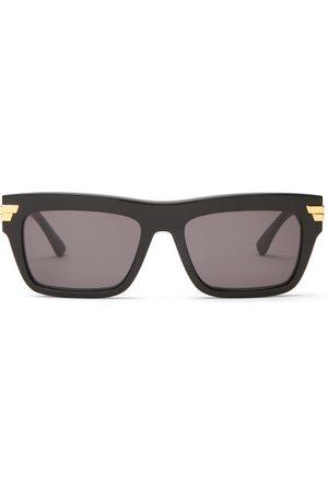 Bottega Veneta Dames Zonnebrillen - Rectangular Acetate Sunglasses - Womens - Black Grey