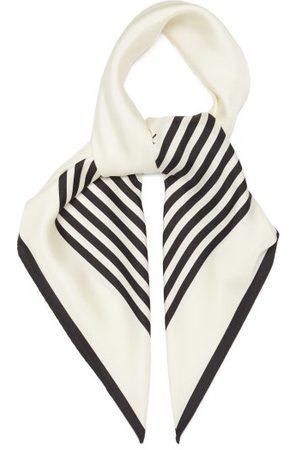 lescarf Dames Sjaals - No.1 Striped-border Silk Scarf - Womens - Cream Stripe